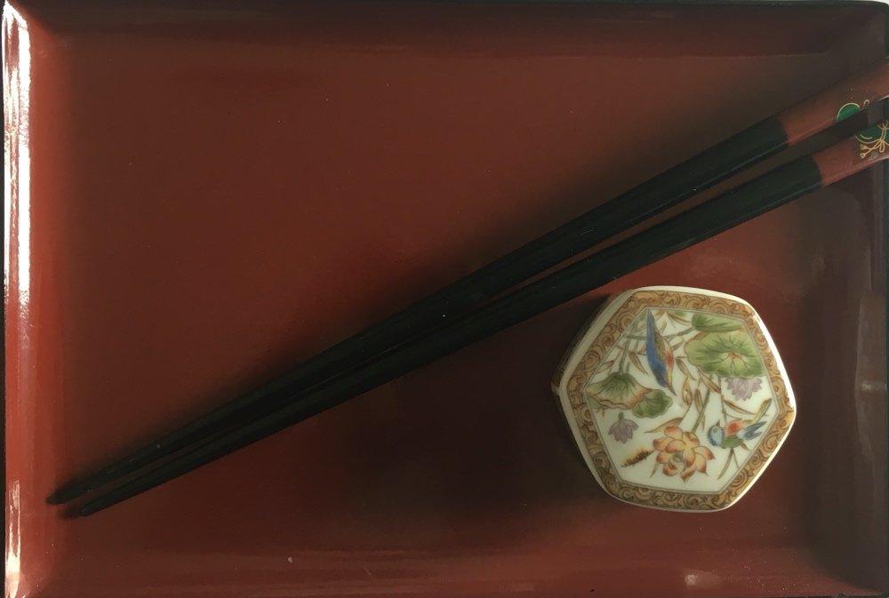 Japanese plate, chopsticks, soy bowlfor sushi