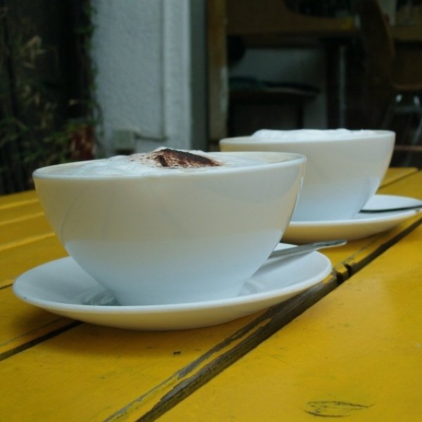 Closeup of two cups of coffee