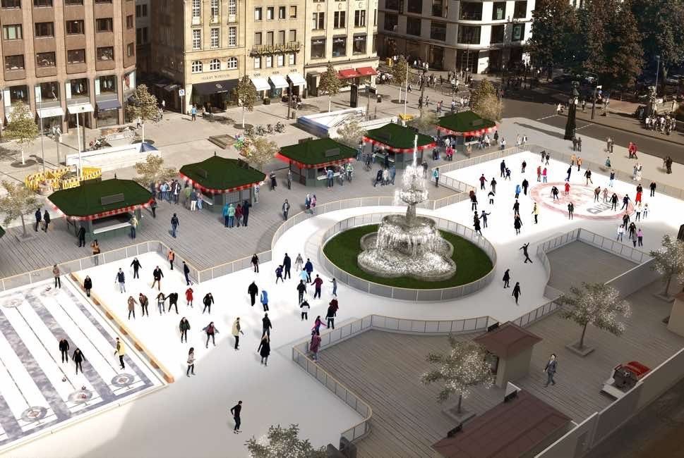 Ice rink with skaters