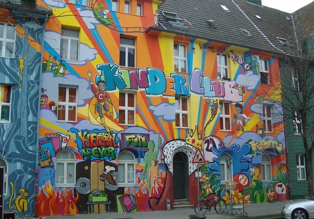 Street art on house frontage