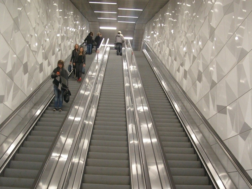 Escalators on subway or metro