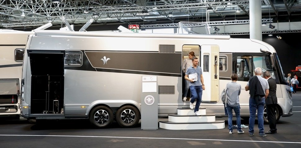 Luxury motorhome in trade fair hall