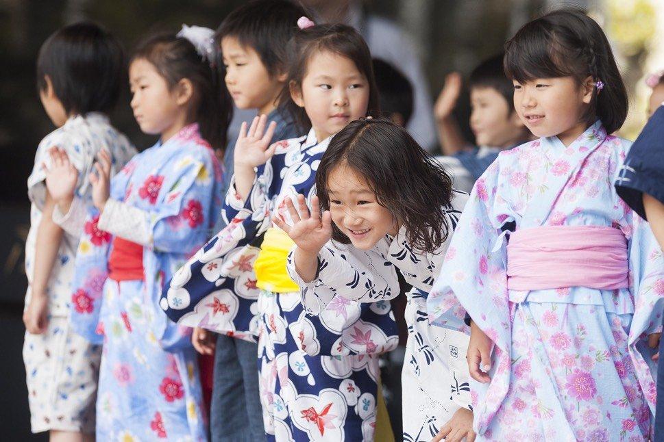 Traditionally dressed Japanese children