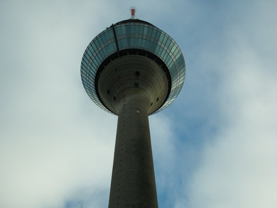 Tower with digital clock from below