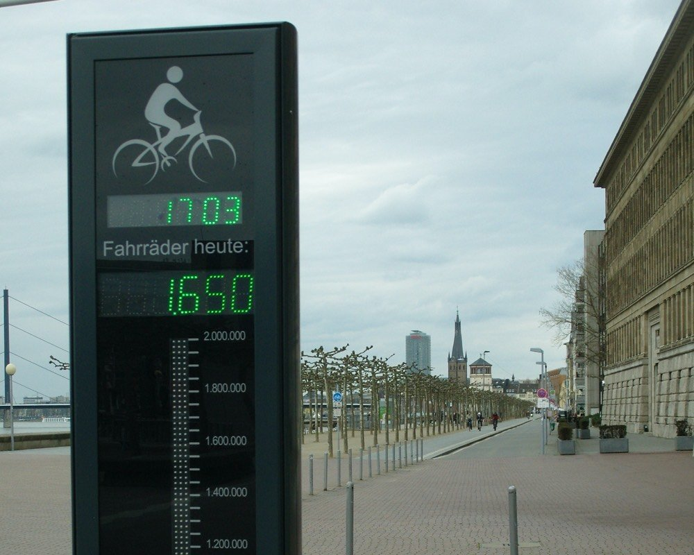 Bicycle counter on promenade