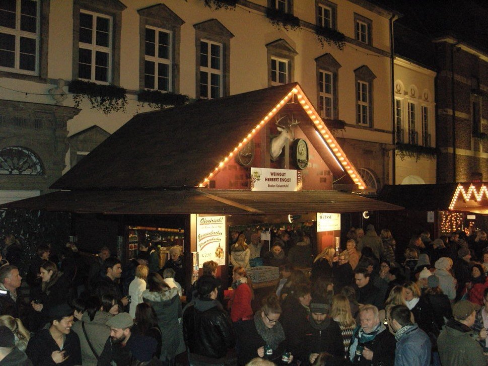 Christmas market stands