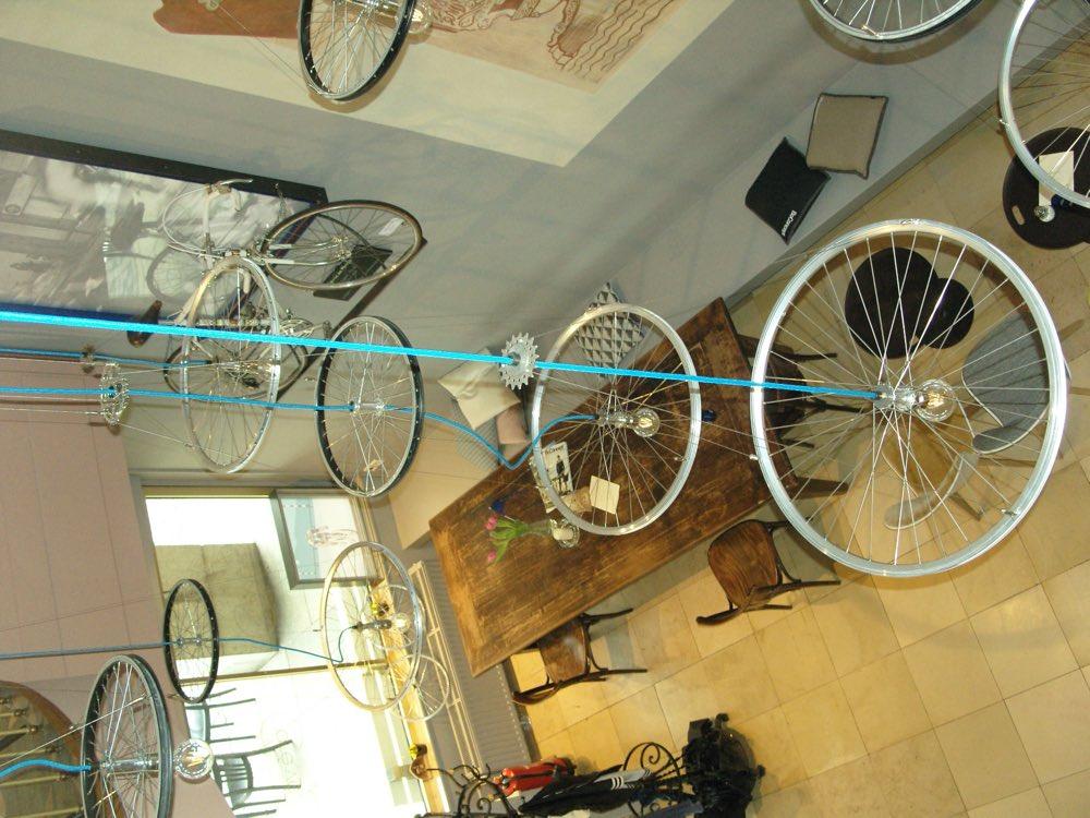 Bicycle wheels hanging