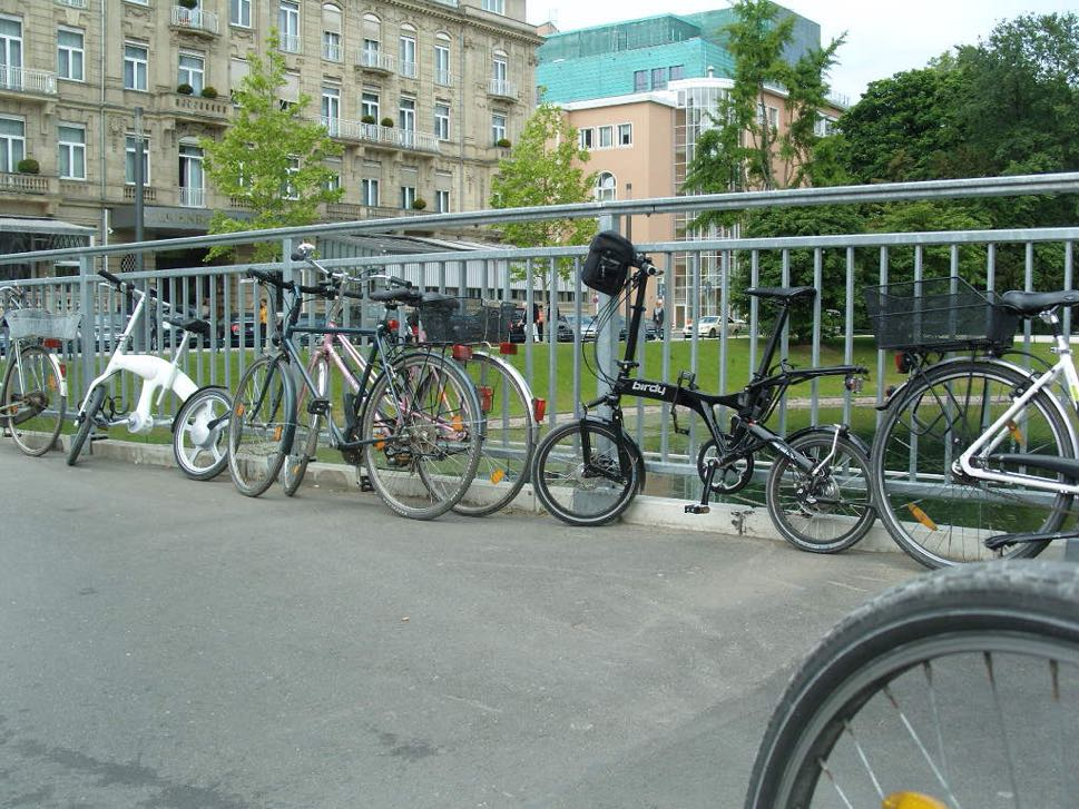 Bikes against railings