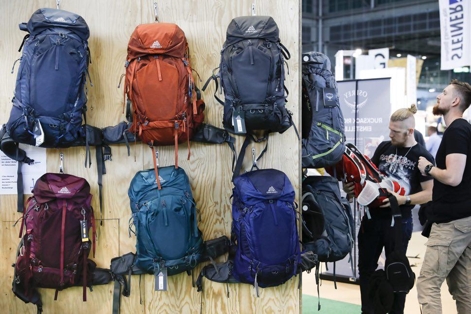 Backpacks at trade fair