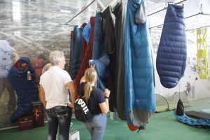 Sleeping bags at trade fair