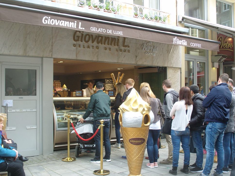 Ice cream store frontage with queue